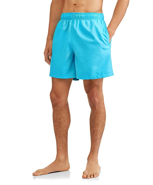"""484a94b077 Neptune Blue Above The Knee 6"""" Inseam Basic Swim Short Trunks - Medium"""