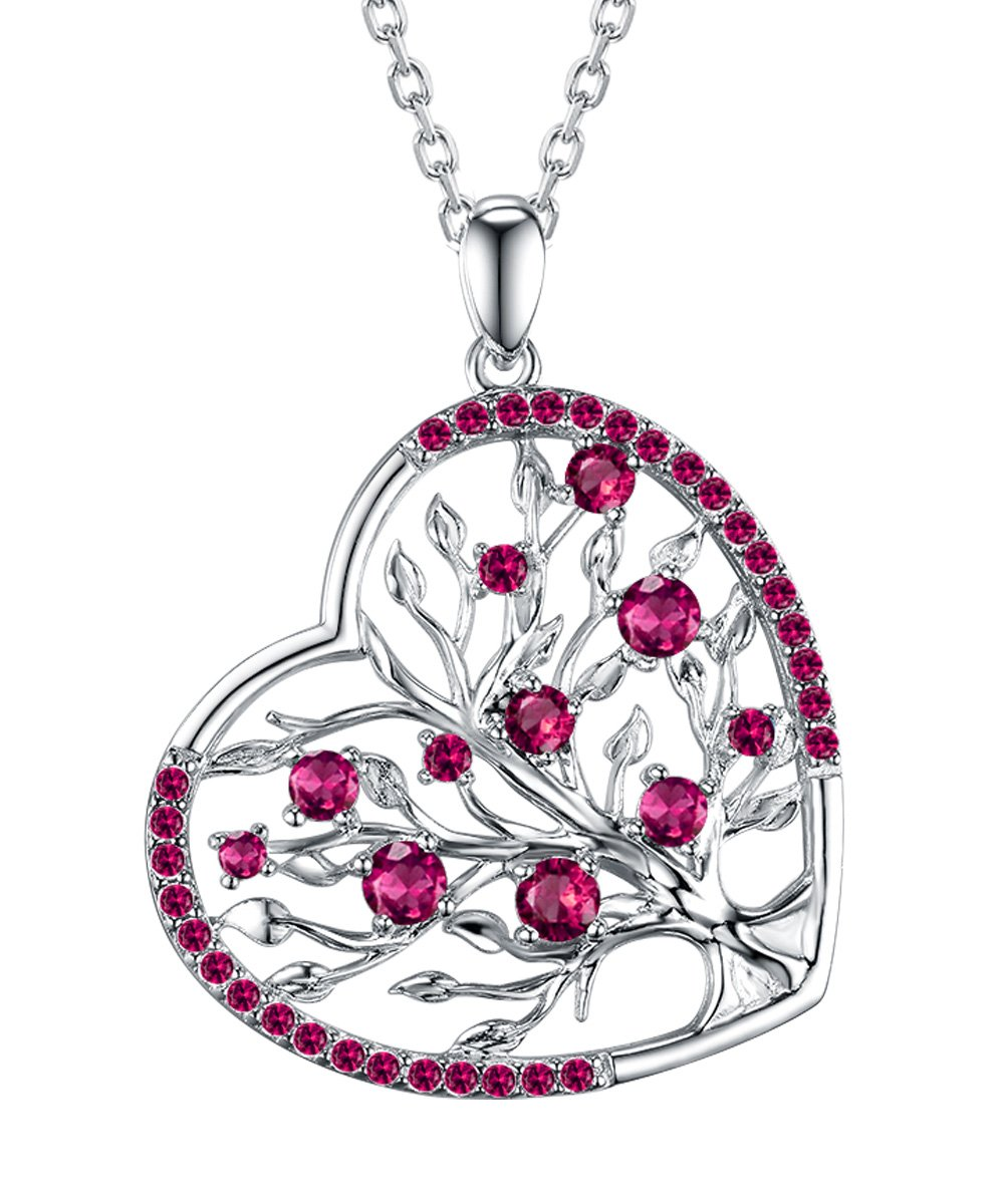 Re Besta Created Red Ruby Birthstone Fine Jewelry Gifts Love Heart The Tree of Life Pendan Necklace for Women Birthday Anniversary Gifts for Her Mom for Women 18''+2'' Changeable Chain