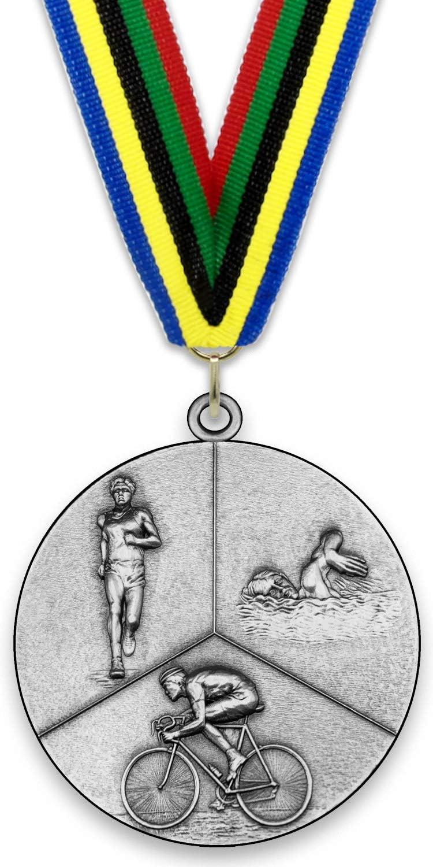 Emblemarket Medalla de Metal Personalizable - Triatlón - Color Plata - 6,4cm - Cinta Incluida - Colores de Cinta - Olímpica: Amazon.es: Deportes y aire libre