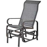 Outsunny Outdoor Mesh Glider Swing Chair Patio Garden Rocking Gliding Seat Yard Porch Furniture, Brown Grey