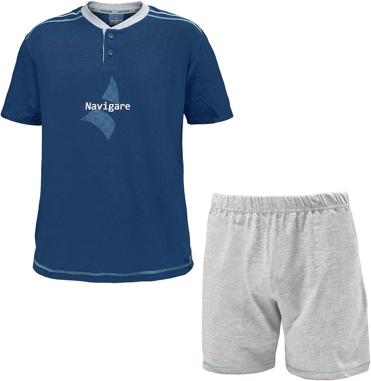 pigiama uomo corto mezza manica calibrato cotone NAVIGARE art 140773B