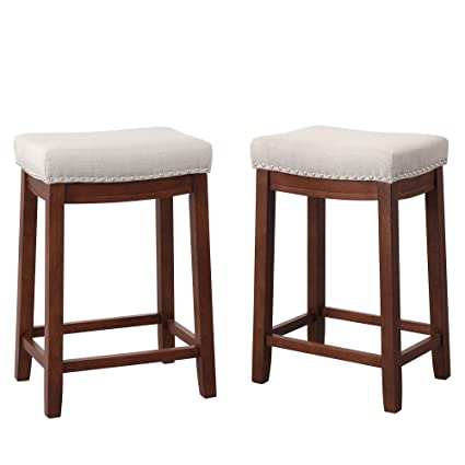 Pleasant Amazon Com Merax Saddle Stools Barstools Backless Linen Gmtry Best Dining Table And Chair Ideas Images Gmtryco