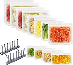 Reusable Storage Bags ( Small, Medium, Large , EXTRA THICK Reusable Food Bags, Reusable Freezer Bags, Reusable Zipper Bags, BPA FREE