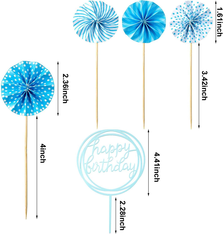 Juego de Topper de Pastel de Happy Birthday Topper de Magdalena de Acr/ílico de Globo de Confeti Abanico de Papel para Decoraci/ón de Pastel de Cumplea/ños Azul