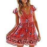 KIRUNDO Women's 2021 Summer Hot Short Sleeve V-Neck High Waist Floral Print Mini Boho Sun Dress with Button