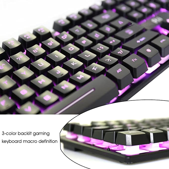 Rii RK100 3 Colors LED Backlit Mechanical Feeling USB Wired Multimedia  Keyboard For working or prime gaming