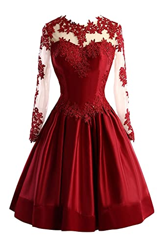 Little Star Satin Short Prom Dresses 2017 For Juniors With Long Sleeve Homecoming Ball Gown