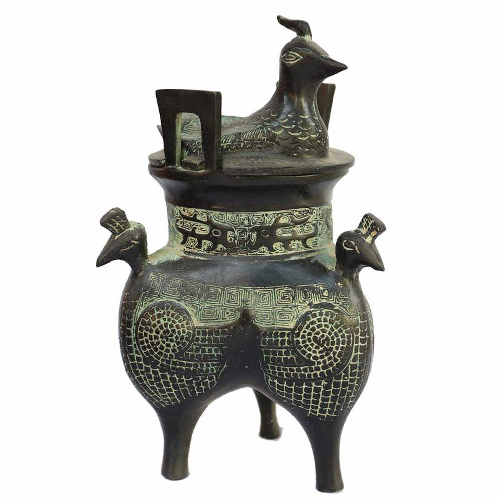 Cubain Compact Exquis Canard Fumé Bureau à Domicile Antique Bronze à Trois Pieds Encensoir Décoration Artisanat