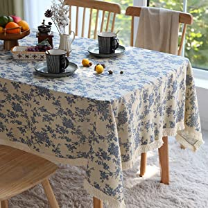ARTABLE Tablecloth Spring Rectangle Fall Blue Antique Flower Decor Macrame Table Cloth for Outdoor Farmhouse Rustic Kitchen Party Birthday Picnic (Blue, 60 x 104 Inch)