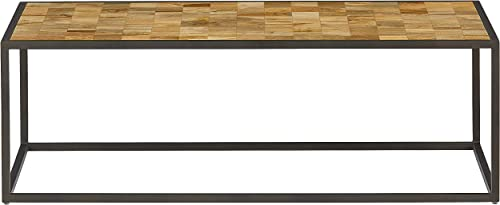 Amazon Brand Rivet Industrial Coffee Table with Multisquare Wood Design, 47.24 W
