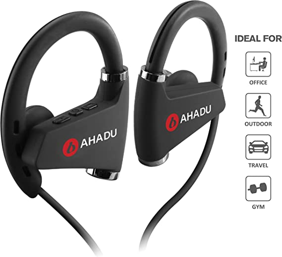 Amazon Com Ahadu Bluetooth Headphones Ahbt 102 2019 Improved Wireless Sports Earphone Longest Battery Life Best Noise Cancelling Earbud With Microphone For Gym Workout Running 16 Hrs Battery Life