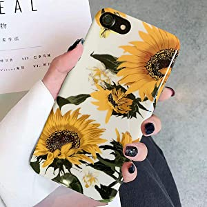 Topwin iPhone 7 Plus/8 Plus Floral Case, Flexible Soft TPU with Florwer and Leaf Pattern Slim Fit Lightweight Cute Case for Girls Women Compatible with Apple 5.5'' iPhone 7 Plus/8 Plus (Sunflower)