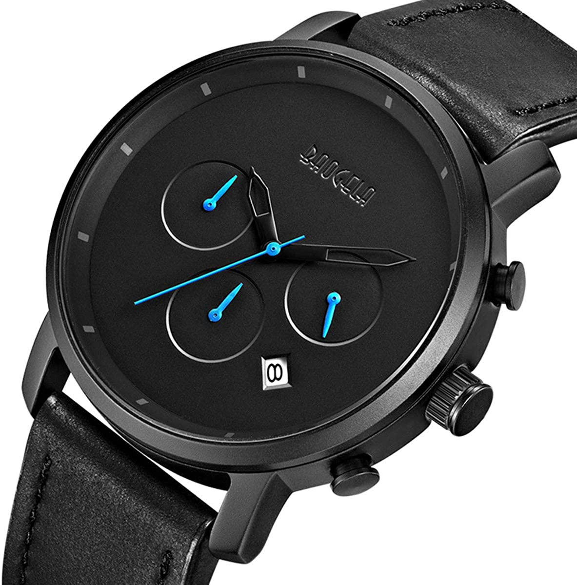 BAOGELA Men s Sports Chronograph Analog Quartz Watches Black Leather Band Waterproof Wristwatch Man