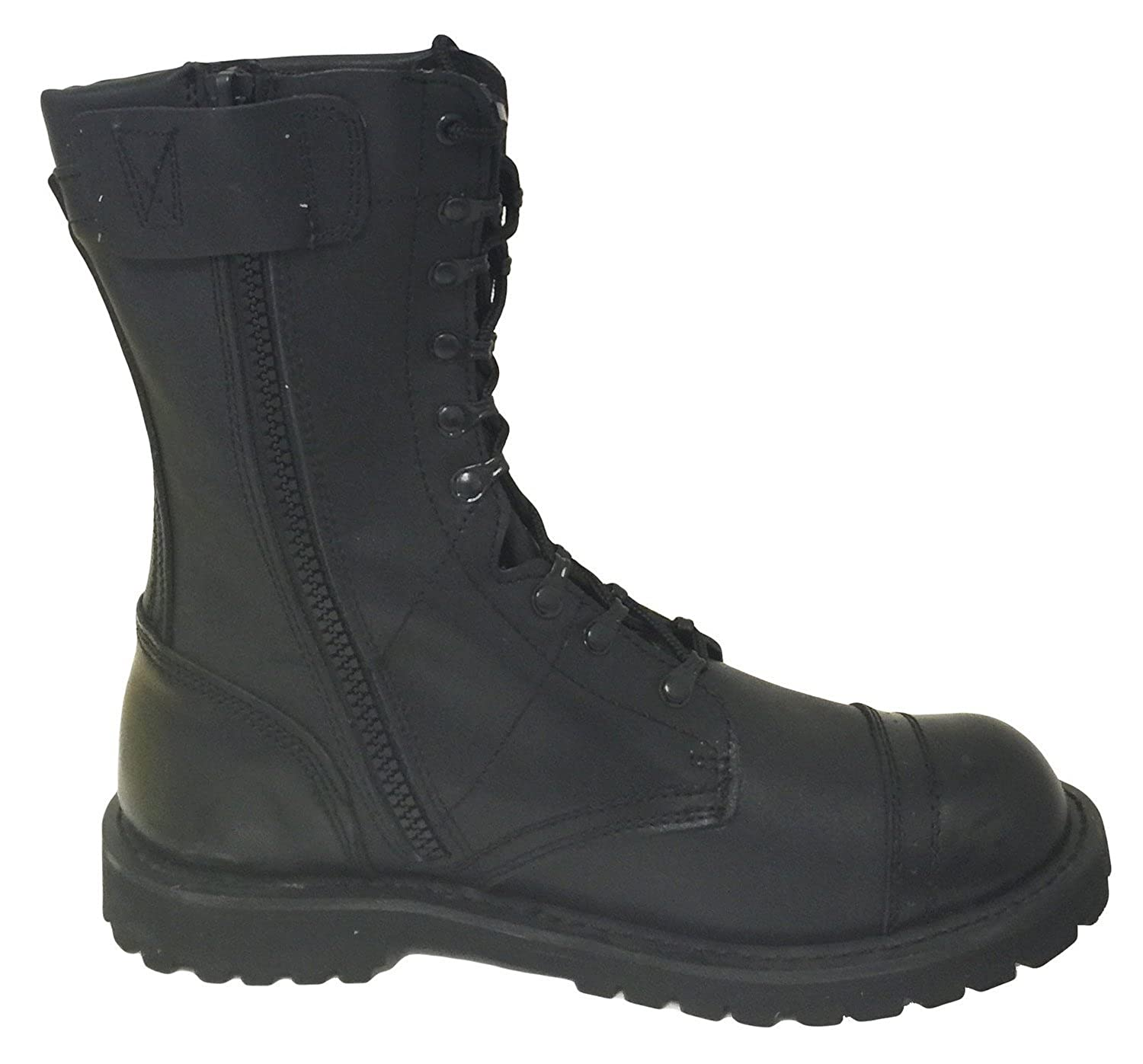 A1B18V Men's Tactical Boots Leather Black Combat Military 10 Inch Cap Toe Side Zipper Army Work Shoes