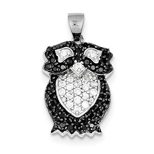 Owl Pendant Cubic Zirconia 925 Sterling Silver Black Rhodium Black CZ