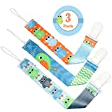 Dummy Clip Boys by Liname - 3 Pack - Premium Quality Universal Dummy Holder With Adorable 2-Sided Stylish Design - Soother Holder - Best Boys Dummy Clips For Your Favourite Dummy Brand