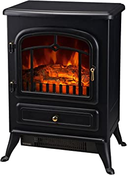 Homcom Freestanding Electric Fireplace Heater With Realistic Led Log Flames And Automatic Timer 750 1500w Black Furniture Decor