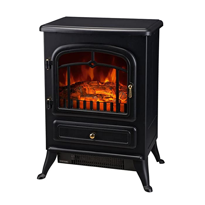 "HOMCOM 21"" H 1500W Compact Freestanding Electric Wood Stove Fireplace Heater With Realistic Flames, Black"
