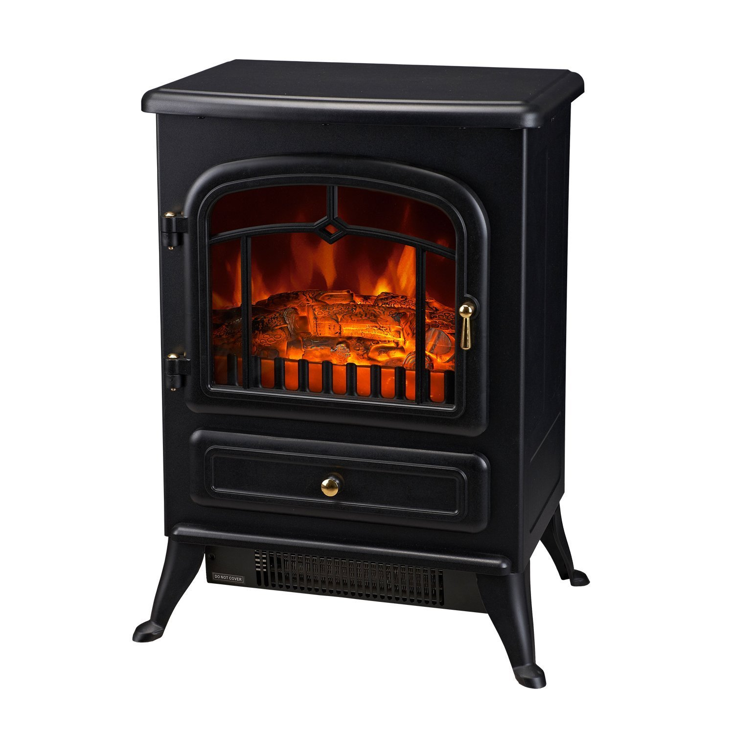 HomCom 16'' 1500W Free Standing Electric Wood Stove Fireplace Heater - Black