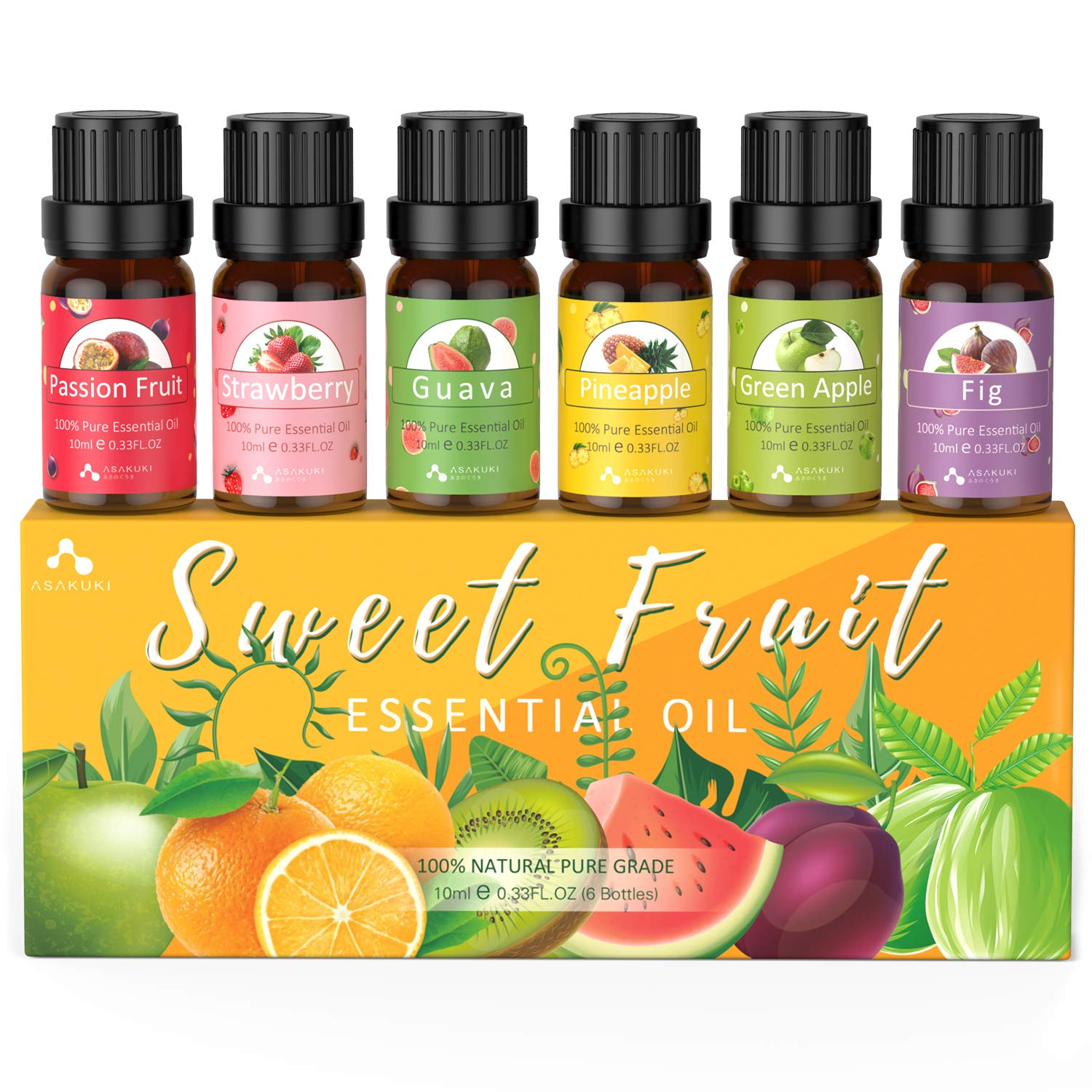 ASAKUKI Fruity Essential Oil Set of 6 Aromatherapy Oils for Diffusers, Passion Fruit, Strawberry, Guava, Pineapple, Green Apple, Fig Fruit Fragrance Gift Set for Home and Office