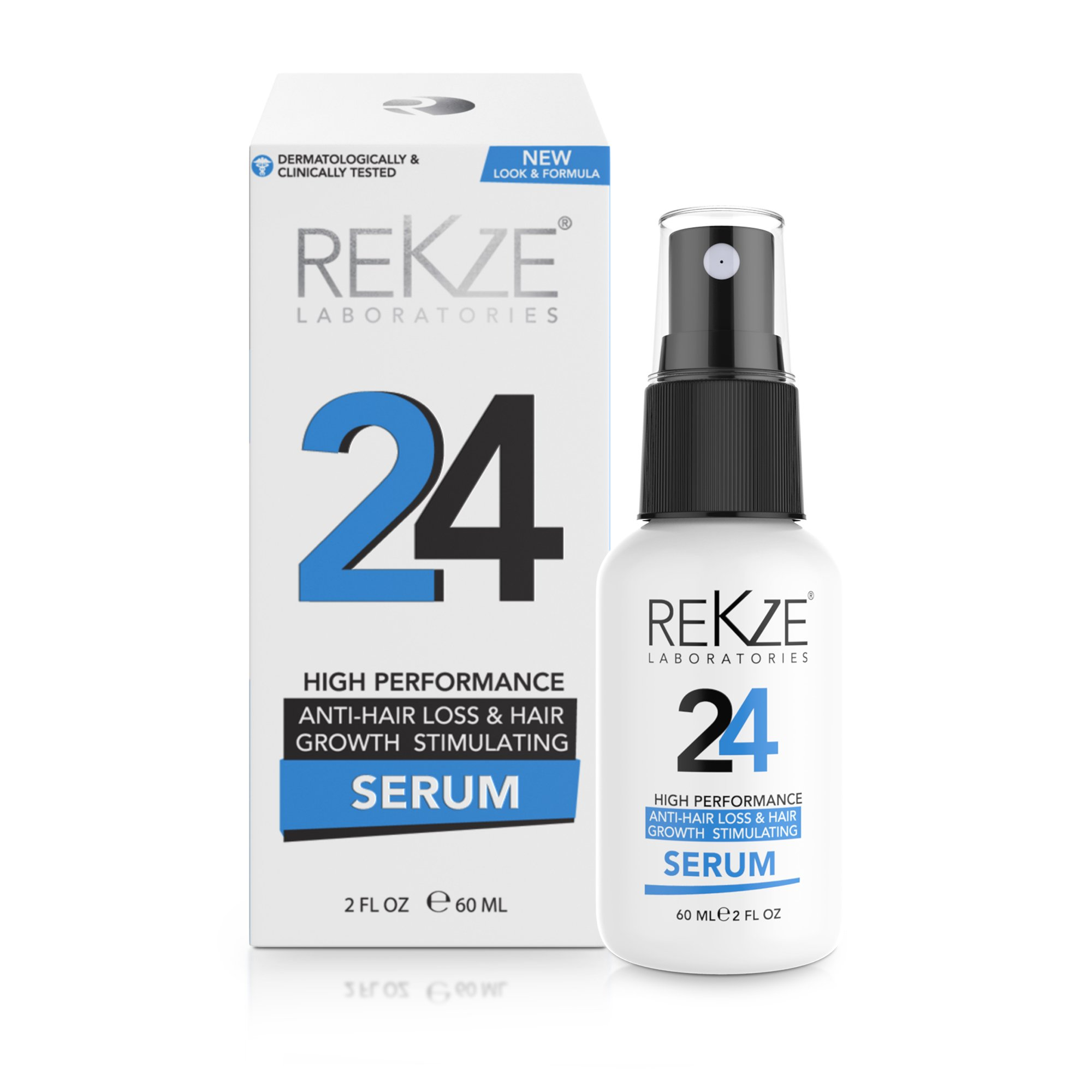 REKZE 24 Hair Growth Serum & Anti-Hair Loss Treatment Clinically Proven For Men & Women, For Thinning Hair, Thickening & Regrowth, Strong DHT Blocker With Procapil, Keratin, Collagen, Astressin-B