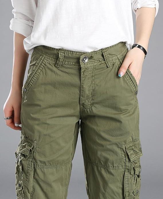 chouyatou Womens Casual Multi-Pockets Sports-Wear Knee Length Cargo Shorts