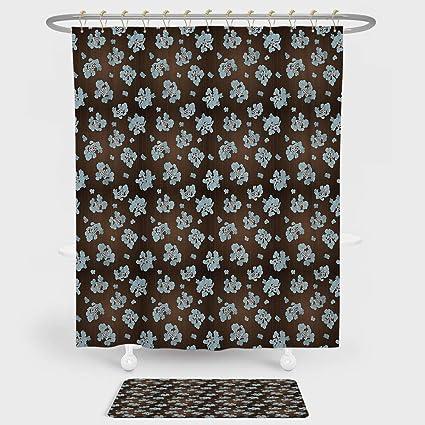 IPrint Brown Blue Shower Curtain Floor Mat Combination Set Flowers Vertical Dotted Lines Abstract Floral Arrangement