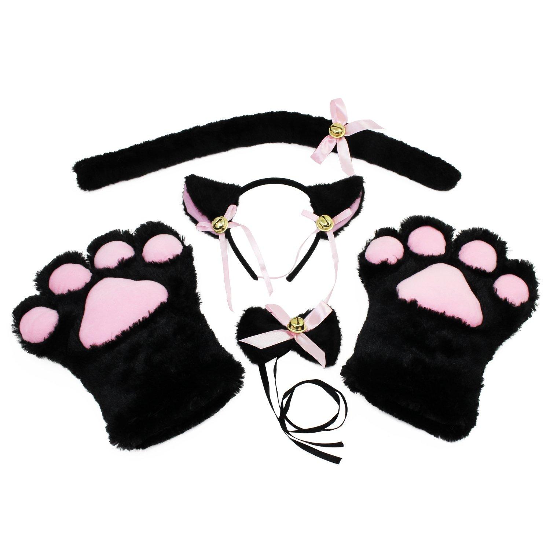 KEESIN Gatto Cosplay Set Peluche Artiglio Guanti Gatto Gattino Orecchie Coda Collare Zampe Carino Adorabile Costume per Il Set per Bambini e Adulti Marrone