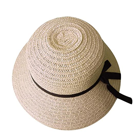cbccd2e68100f Foldable Women Straw Hat Lady Lightweight Beach Summer Sun Floppy Hats Wide  Brim Caps (Beige