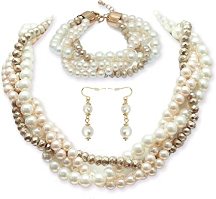 Multi strand pearl necklace Long pearls necklace Long necklace Multi strand necklace Silver layering necklace Navy blue pearls necklace 859