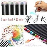 OVERMAL 20 Color Markers Watercolor Soft Flexible Brush Tip Pens + 1Pcs Water Brush Set