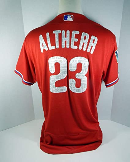 9804d263 2018 Philadelphia Phillies Aaron Altherr #23 Game Used Red Spring ...