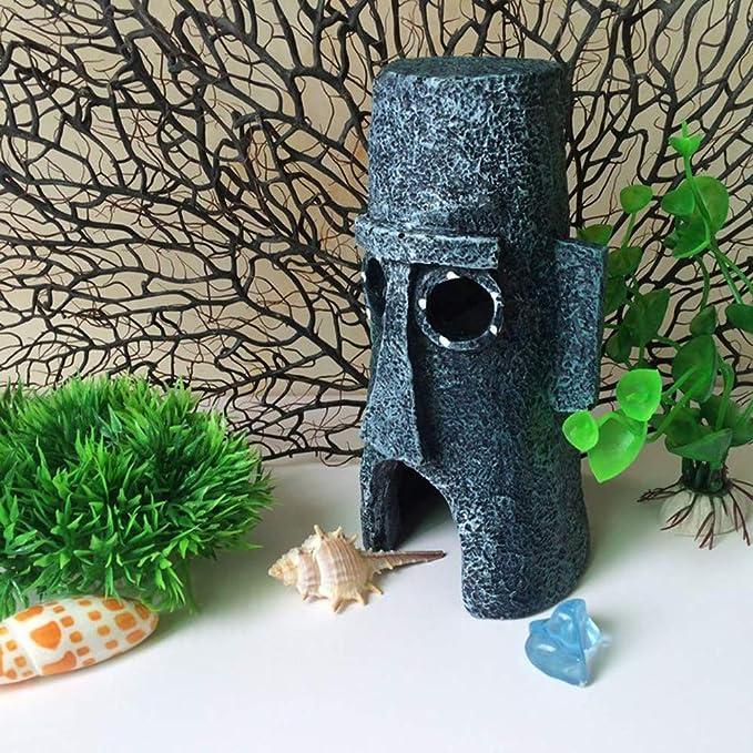 Ogquaton Acuario Ornamental Calamardo s Isla de Pascua Casa Bob Esponja Decoración Decoración de Resina Suministros de Decoración de Resina 1 UNIDS: ...