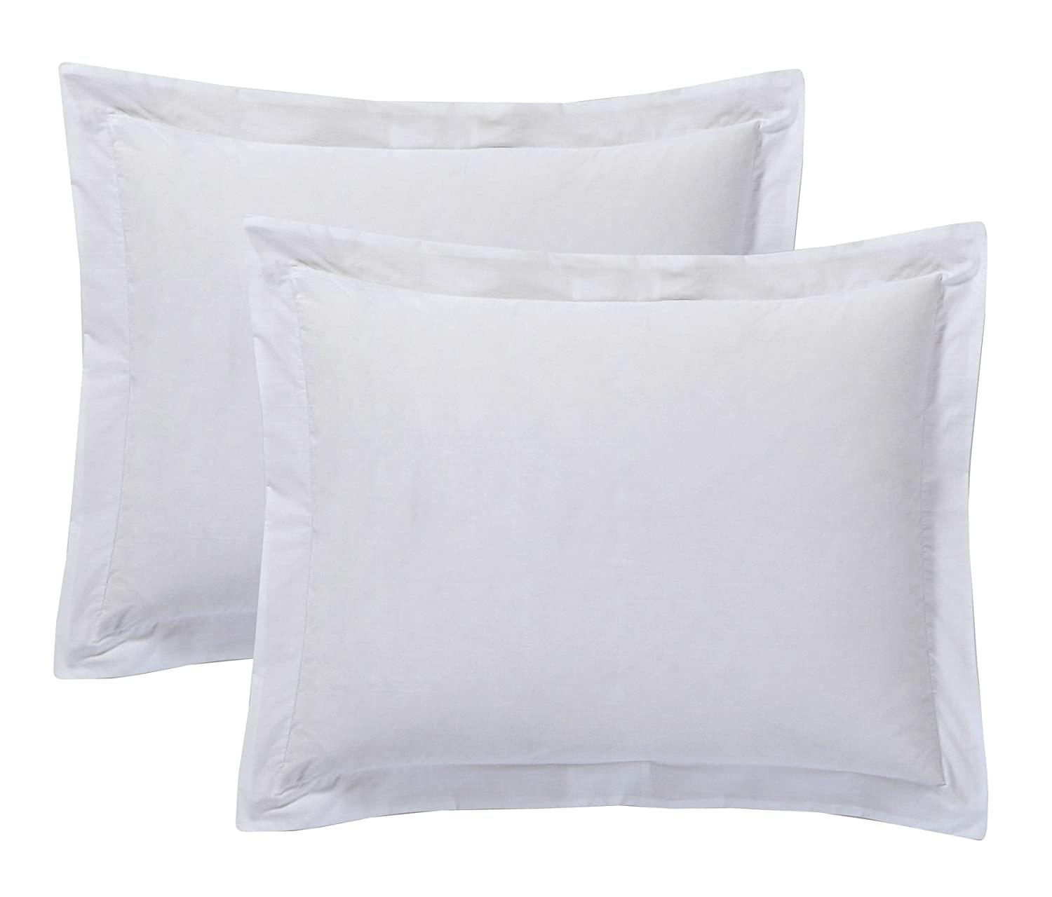 Today's Home Pillow Shams Soft Cotton Blend Tailored Classic Styling, Standard, White (2 Pack)