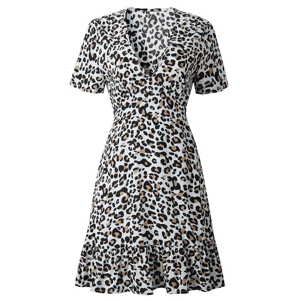 Bodbii Frauen-Fr/ühlings-Sommer-reizvolle Leopard-Druck V-Ausschnitt gekr/äuseltes Kurze /Ärmel Kleid