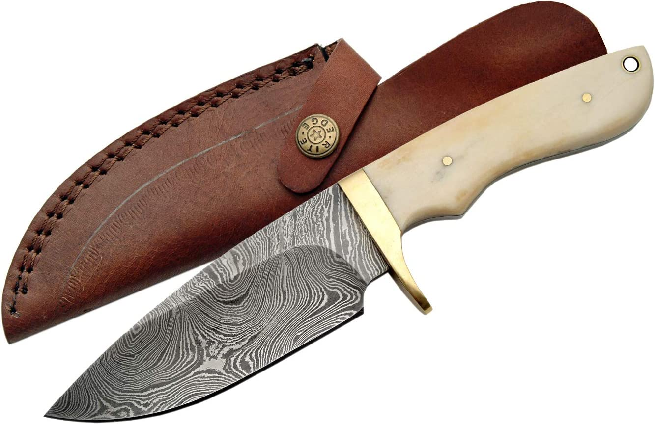 SZCO Supplies DM-1089BO Damascus Hunting Knife with Bone Handle