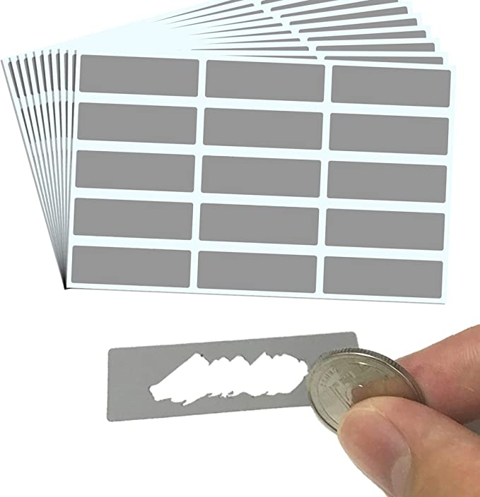 """Amazon.com : 150 Pack, Rectangle Scratch Off Labels Stickers, Gray - 1.9 x 0.6"""" : Office Products"""