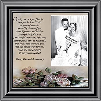 Amazon.com - 60th Anniversary Beveled Glass Photo Frame with Easel ...