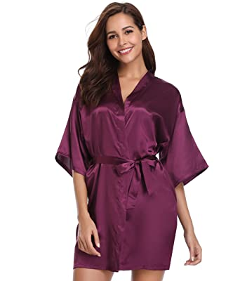 Vlazom Womens Kimono Robes Dressing Gown Satin Bathrobe Nightdress Pure  Colour Short Style with Oblique V c88a1b3a0
