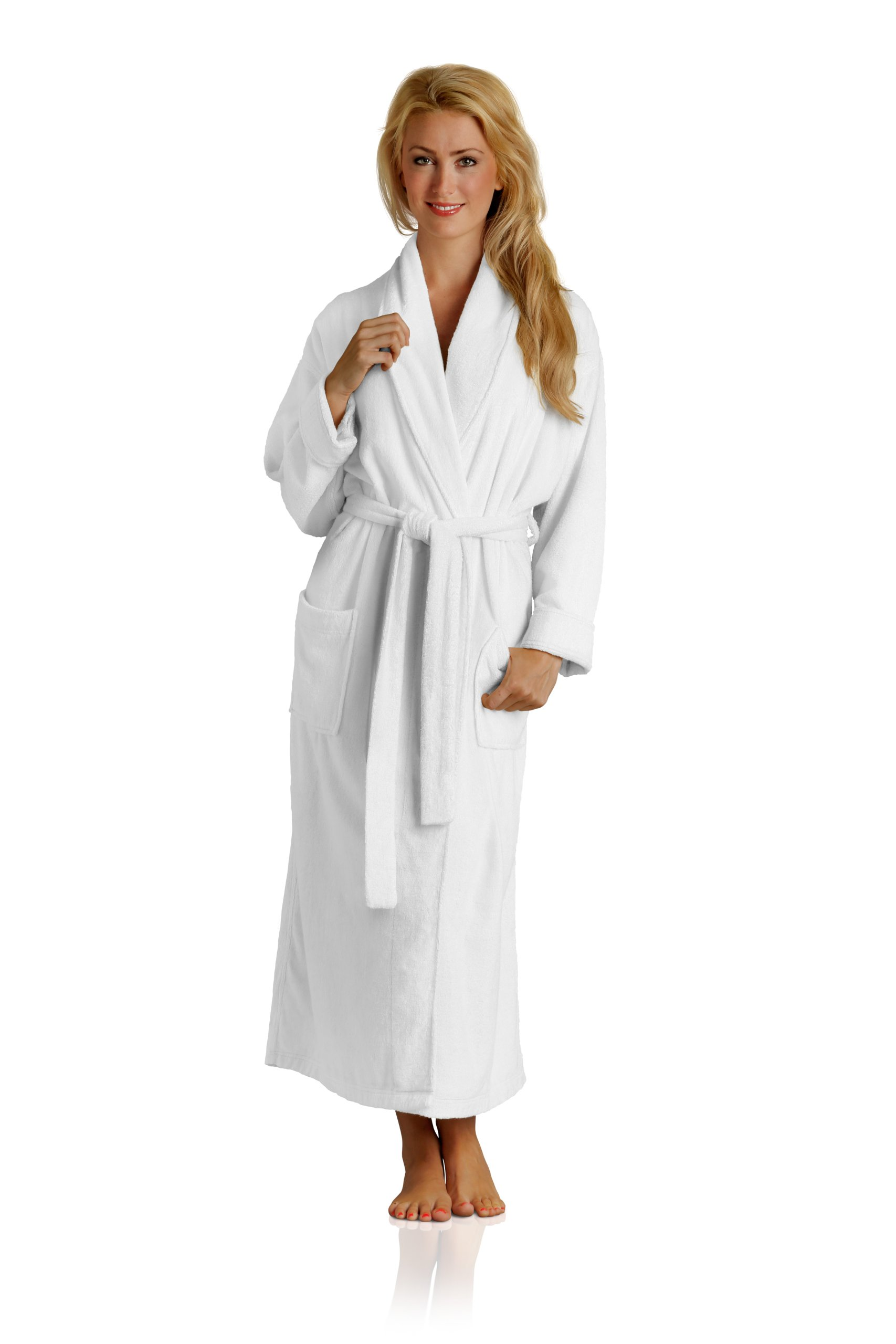 Pure Bliss Terry Robe - Super Absorbent and Soft - Cotton and Rayon from Bamboo in White, X-Large