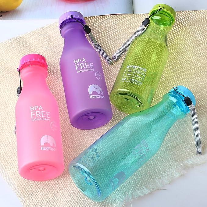 Wuiyepo Botella Copas portátiles botellas de soda a prueba de goteo del recorrido del deporte de agua (azul Transparente): Amazon.es: Hogar