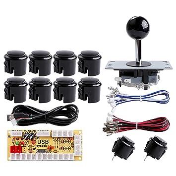 Hikig Kit de máquina de Juego DIY Arcade, 1x 2pin joystcik + 1x codificador USB