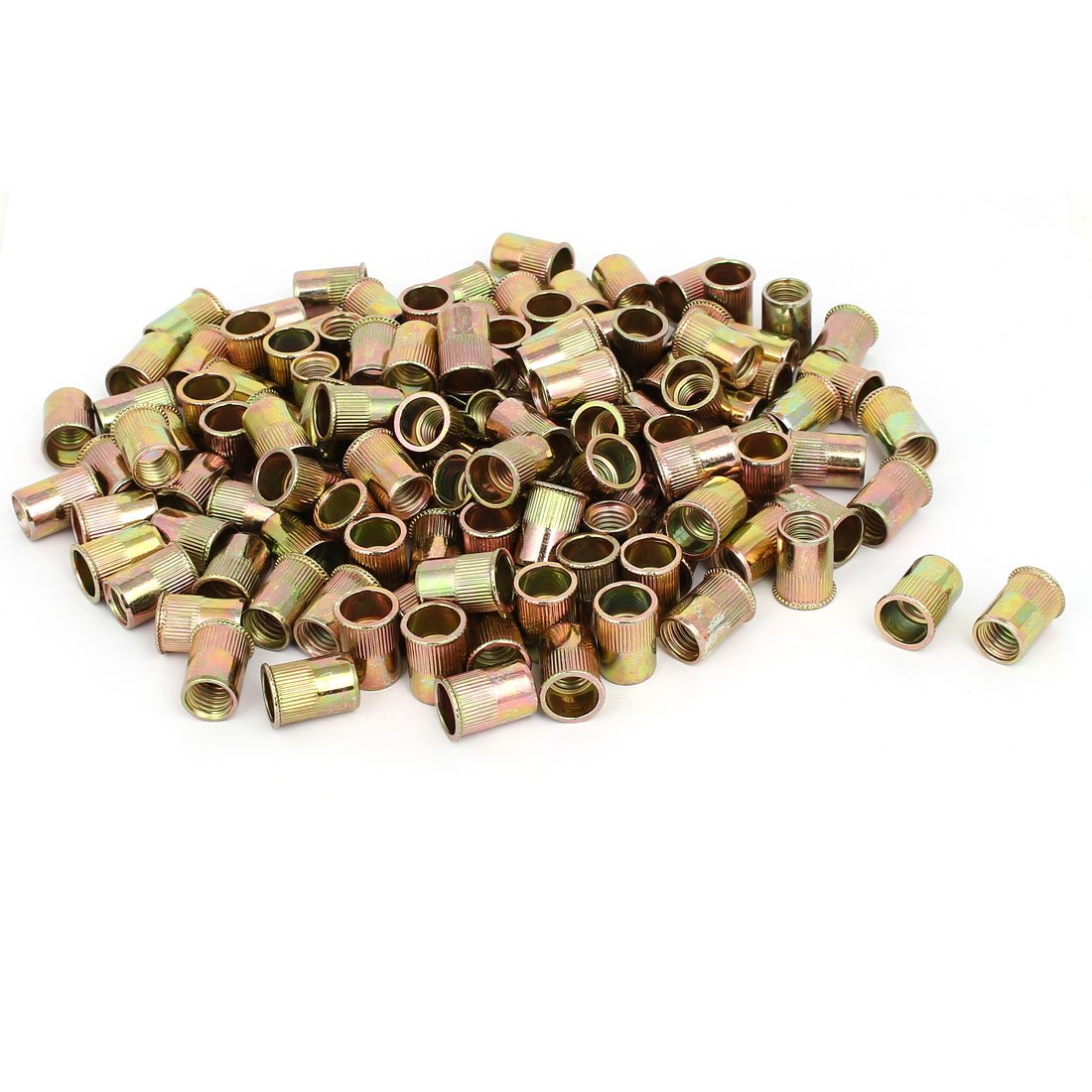 uxcell M10x19mm Reduced Head Straight Knurled Rivet Nut Insert Bronze Tone 130pcs