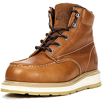 ROCKROOSTER Work Boots for Men, Composite Moc Toe, 6'' Wedge Safety Leather Shoes, Non-Slip, Anti-Puncture, Water Resistant, EH, Anti-Fatigue, AP828: Shoes