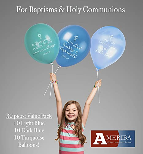 """11/"""" Latex Celebrations 6 White with Gold Print First Holy Communion Balloons"""