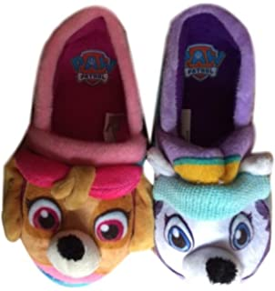 Nickelodeon Paw Patrol Girls Slippers syke and Everset Fleece Slip On
