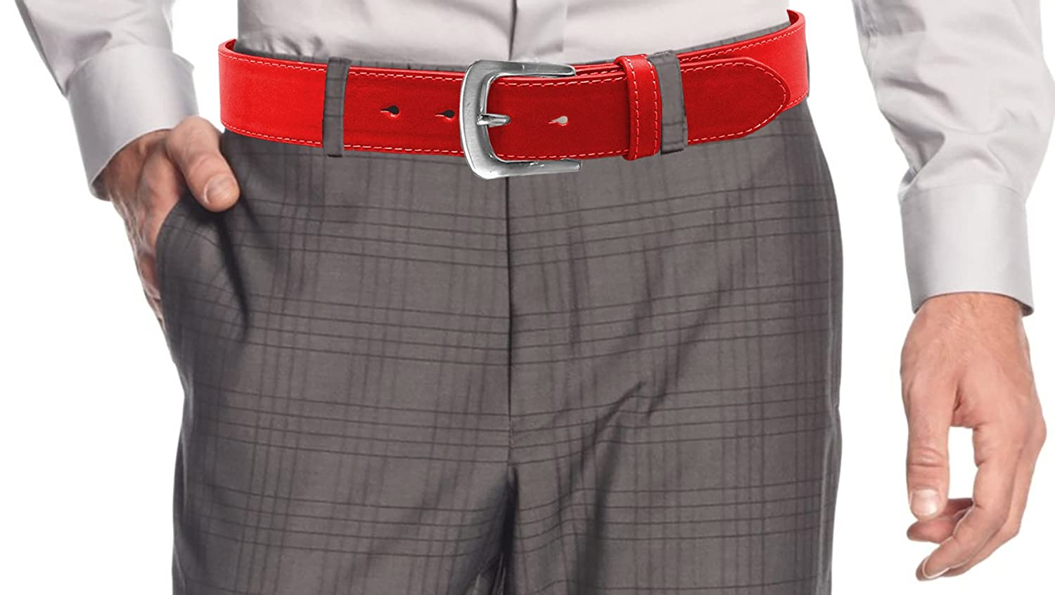 LUNA Mens Premium Quality Dress Stitch Buckle Belt - Red - X Large