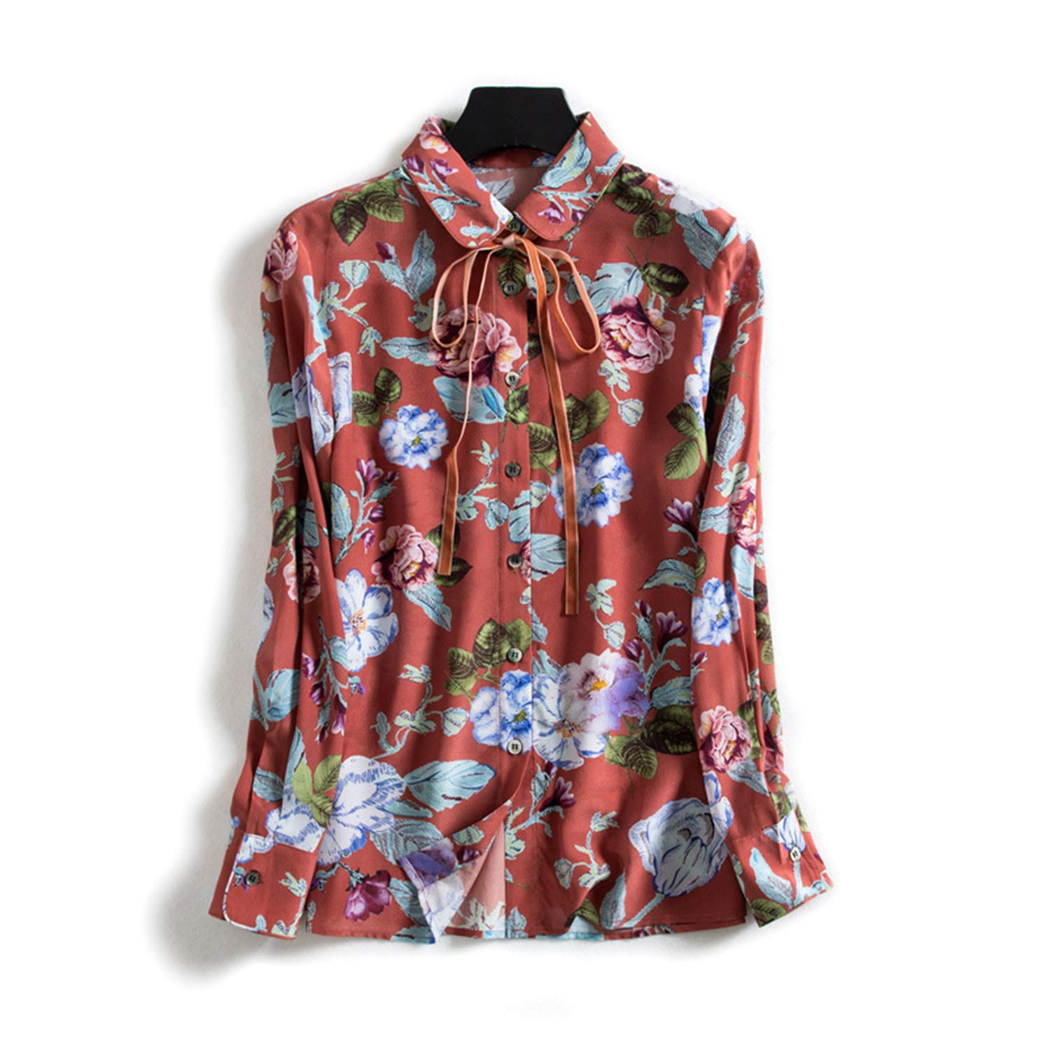 Floral Printed Silk Shirt, Ladies Lapel Bow Top, Casual Blouse