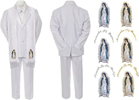 Baby Kid Boy Baptism Christening Tuxedo Suit w// Silver Guadalupe Stole White S-7
