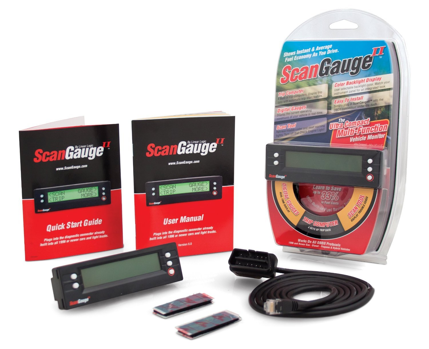 ScanGauge II Ultra Compact 3-in-1 Automotive Computer with Customizable Real-Time Fuel Economy Digital Gauges by ScanGauge (Image #1)